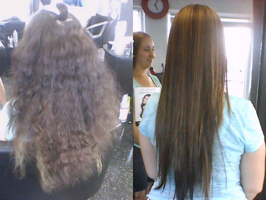 spoil me rotten salon brazilian blow out before and after